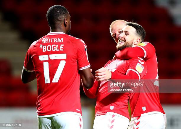 Conor Washington of Charlton celebrates after scoring his sides third goal during the Sky Bet League One match between Charlton Athletic and...
