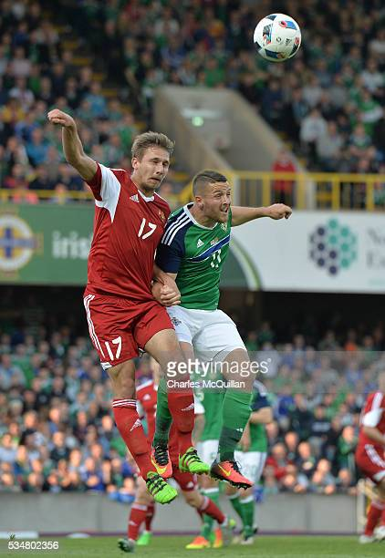 Conor Washington of Northern Ireland and Maksim Valadzko of Belarus during the international friendly game between Northern Ireland and Belarus on...