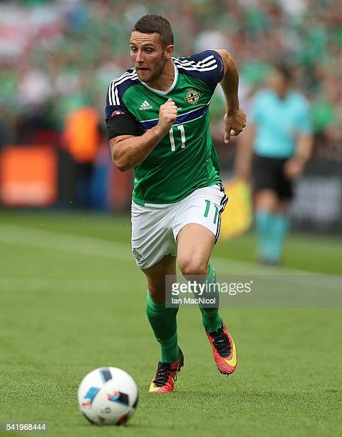 Conor Washington of Northern Ireland controls the ball during the UEFA EURO 2016 Group C match between Northern Ireland and Germany at Parc des...