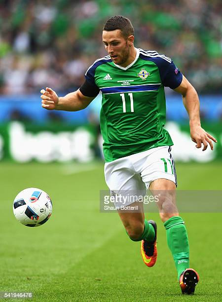 Conor Washington of Northern Ireland in action during the UEFA EURO 2016 Group C match between Northern Ireland and Germany at Parc des Princes on...