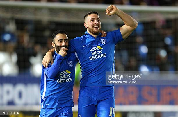 Conor Washington of Peterborough United celebrates after he scores a goal to make it 10 with Erhun Oztumer of Peterborough United during the Sky Bet...