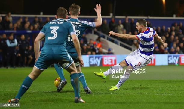 Conor Washington of QPR he scores their second goal during the Sky Bet Championship match between Queens Park Rangers and Wigan Athletic at Loftus...