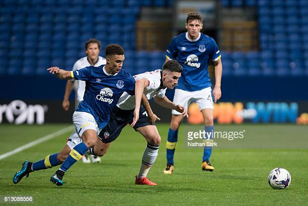 Conor Wilkinson of Bolton Wanderers and Antonee Robinson of Everton during the Checkatrade Trophy group match between Bolton Wanderers and Everton...