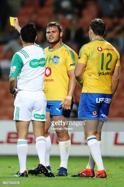 Conraad Van Vuuren of the Bulls receives a yellow card during the round five Super Rugby match between the Chiefs and the Bulls at Waikato Stadium on...