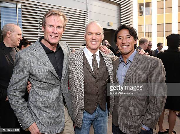 Conrad Anker Michael Keaton and Jimmy Chin attend a Celebration of MERU Luncheon With Jimmy Chin And Conrad Anker at Craft on December 16 2015 in...