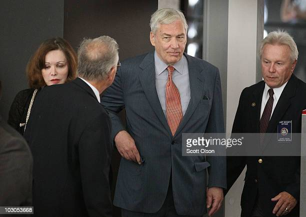 Conrad Black and his wife Barbara Amiel arrive at the Dirksen Federal Building to hear the terms of his bail on July 23 2010 in Chicago Illinois...