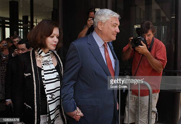 Conrad Black and his wife Barbara Amiel leave the Dirksen Federal Building following a hearing detailing the terms of his bail July 23 2010 in...