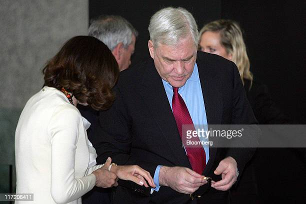 Conrad Black former chairman of Hollinger International Inc right arrives with his wife Barbara Amiel at the Dirksen Federal Courthouse for a...