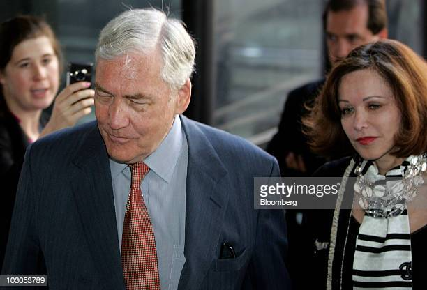 Conrad Black former Hollinger International Inc chairman left and his wife Barbara Amiel arrive at the Dirksen Federal Building in Chicago Illinois...
