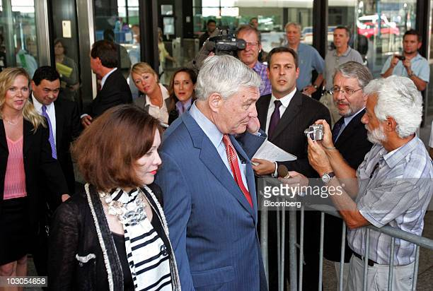 Conrad Black former Hollinger International Inc chairman right and his wife Barbara Amiel exit the Dirksen Federal Building in Chicago Illinois US on...