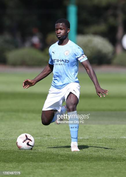 Conrad Eagan Riley of Manchester City during the U18 Premier League match between Manchester City and Burnley at The Academy Stadium on April 24,...