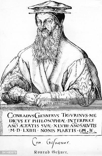 Conrad Gesner Arzt Naturforscher Phililoge CHnach Vorlage von 1564 gezv ChrMaurer geschn von L Frig
