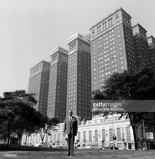 Conrad Hilton in front of Hilton Hotel In Chicago United States In 1950Hilton hotels owner Conrad Hilton in front of the Chicago Hilton Hotel 1950