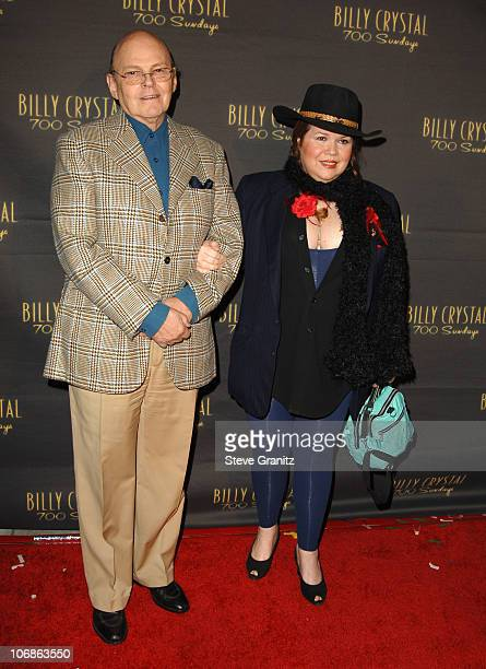 """Conrad Janis and guest during Los Angeles Opening Night of The Tony Award Winning Broadway Show Billy Crystal """"700 Sundays"""" at Wilshire Theatre in..."""