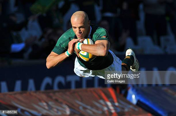 Conrad Jantjes of South Africa over for his try during the International rugby match between South Africa and Wales held at the Vodacom Park on June...
