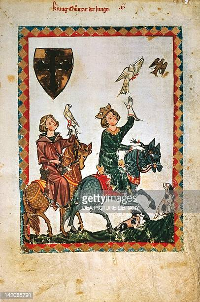 Conrad of Swabia hunting with a falcon miniature from the Codex Manesse manuscript folio 7 recto Germany