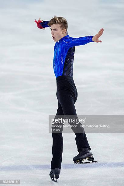 Conrad Orzel of Canada competes during ISU Junior Grand Prix of Figure Skating junior men free skating on August 25 2016 in SaintGervaislesBains...