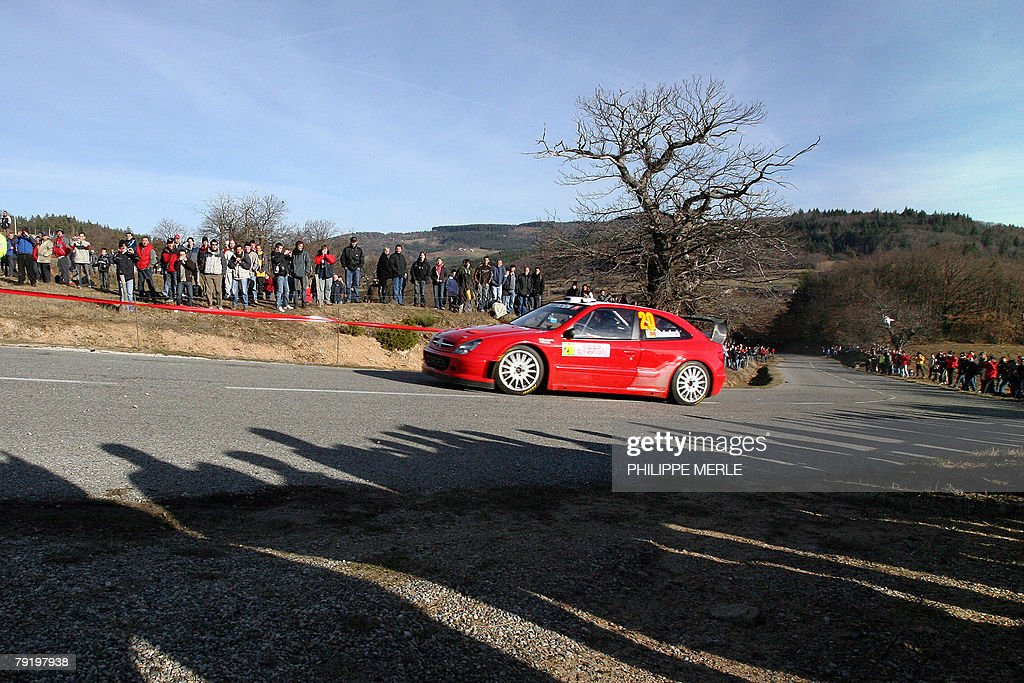 Conrad Rautenbach of Zimbabwe steers his Citroen Xsara, 24 January 2008 in Vernoux-en-Vivarais near Valence, south-eastern France, during a training session of the 76th edition of the Monte-Carlo Rally.