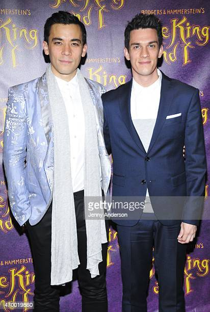 Conrad Ricamora and boyfriend Preston Sadleir attend Broadway opening night of 'The King and I' at Vivian Beaumont Theatre on April 16 2015 in New...