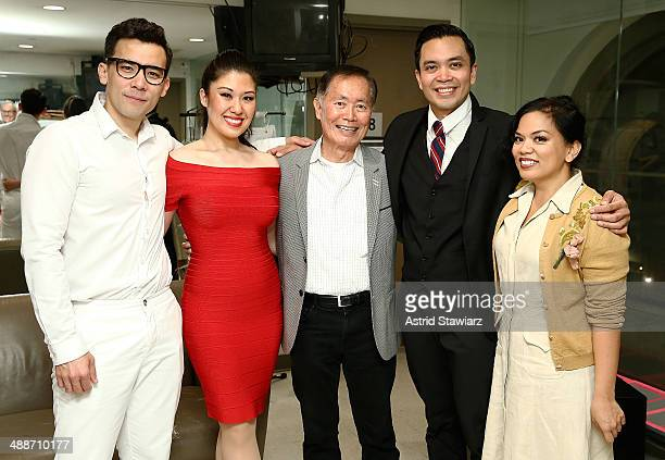 Conrad Ricamora Ruthie Ann Miles George Takei Jose Llana and Melody Butiu pose for photos after a showing of Here Lies Love at The Public Theater on...