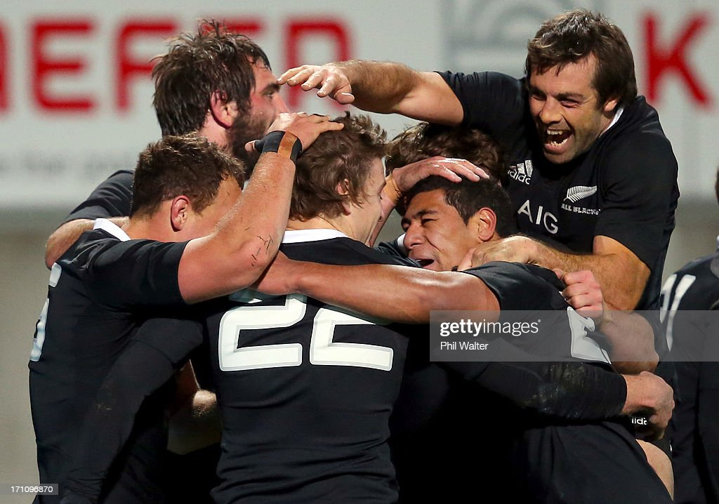 Conrad Smith and Charles Piutau of the All Blacks congratulate Beauden Barrett on his try during the Third Test Match between the New Zealand All Blacks and France at Yarrow Stadium on June 22, 2013 in New Plymouth, New Zealand.