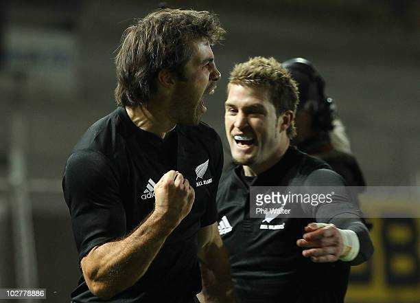 Conrad Smith of the All Blacks celebrates his try with Cory Jane during the TriNations match between the New Zealand All Blacks and South Africa...