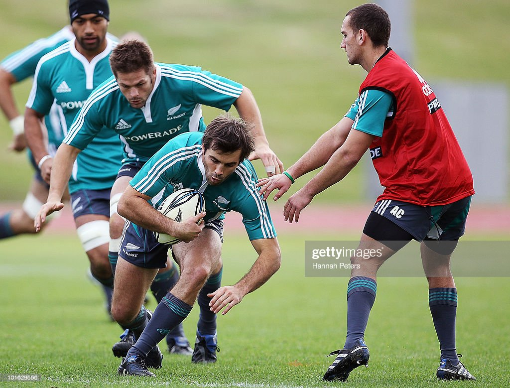 Conrad Smith of the All Blacks runs through drills during a New Zealand All Blacks training session at Trusts Stadium on June 5, 2010 in Auckland, New Zealand.
