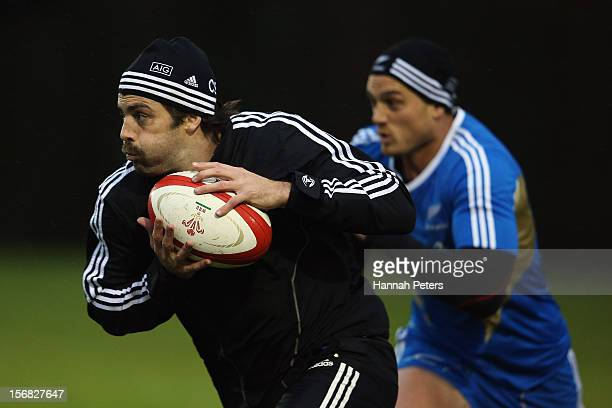 Conrad Smith of the All Blacks runs through drills during a training session at the University of Glamorgan training fields on November 22, 2012 in...