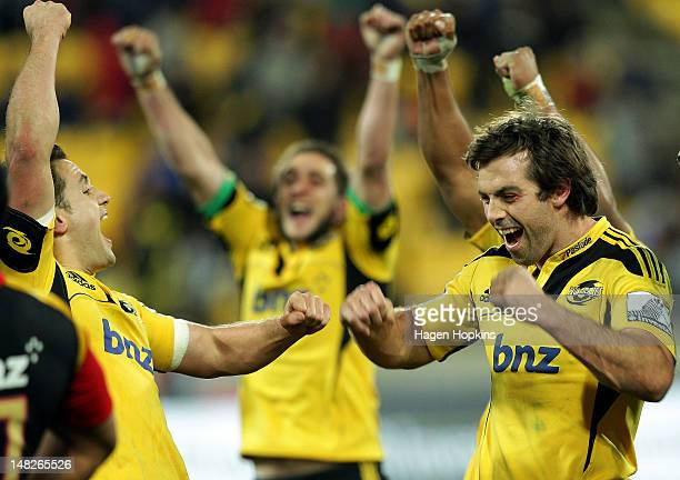 Conrad Smith of the Hurricanes celebrates the winning try during the Super Rugby round 18 game between the Hurricanes and the Chiefs at Westpac...