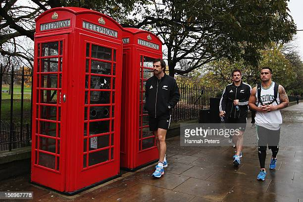 Conrad Smith Richie McCaw and Liam Messam of the All Blacks return from a recovery session at the Imperial College on November 26 2012 in London...