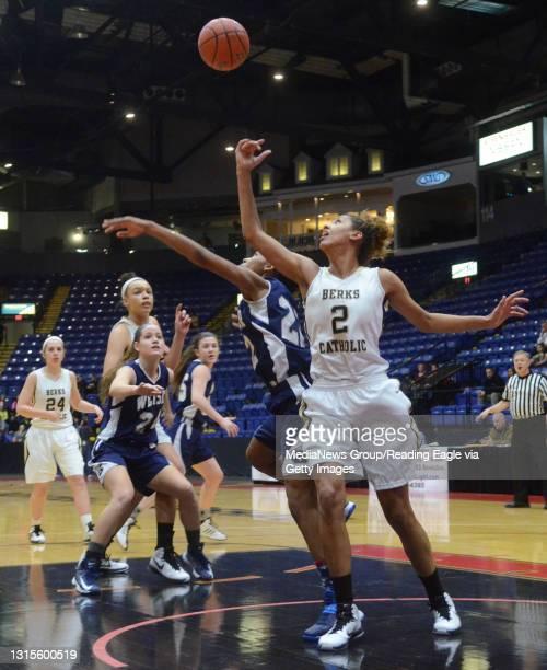 Conrad Weiser's TaCari Talford and Berks Catholic's Mikayla Lea Girls Basketball, the Berks Catholic Saints vs. The Conrad Weiser Scouts at the...