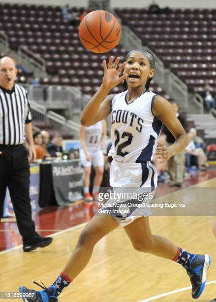 Conrad Weiser's TaCari Talford keeps her eye on the incoming pass. 2/25/2015 - Photo by Harold Hoch - GIRLS BASKETBALL The Conrad Weiser Scouts...