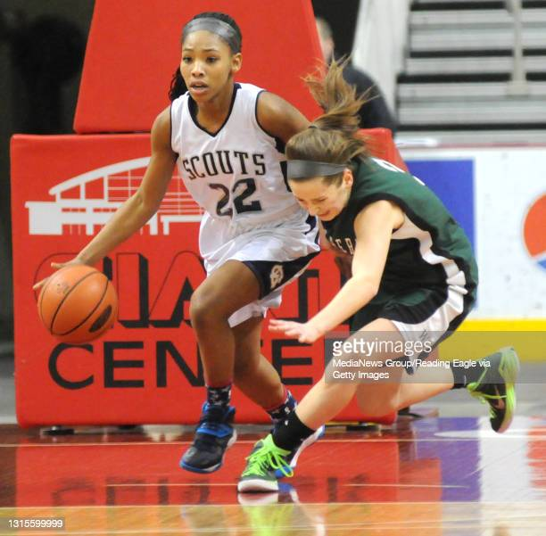 Conrad Weiser's TaCari Talford makes a move against West Perry's Madison Urich who cann't keep up. 2/25/2015 - Photo by Harold Hoch - GIRLS...