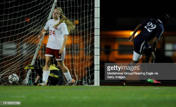 Conrad Weiser's TaCari Talford scores past Fleetwood goalie in the 11th minute of the second half.GIRLS SOCCER Conrad Weiser Scouts defeat the...