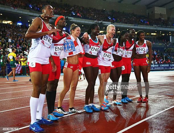 Conrad Williams Matthew HudsonSmith Michael Bingham and Daniel Awde of England pose with the Bronze medalists Women's 4x400 metres team Shana Cox...