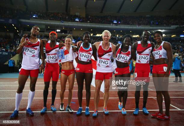 Conrad Williams Matthew HudsonSmith Michael Bingham and Daniel Awde of England pose with the Bronze medalists Women's 4x400 metres team Shana Cox...