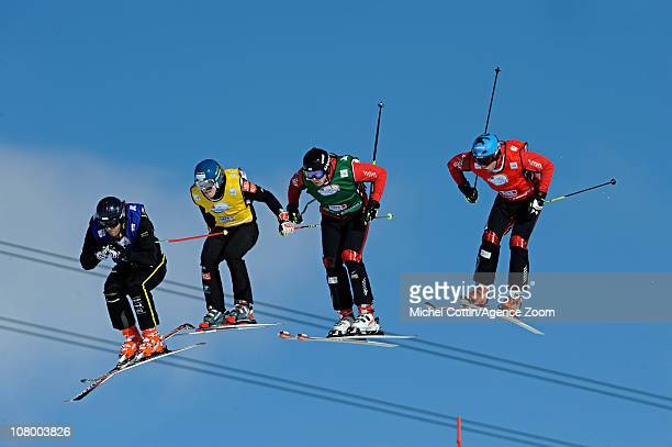 Conradign Netzer of Switzerland Jouni Pellinen of Finland David Duncan of Canada and Davey Barr of Canada during the FIS Freestyle World Cup Me's Ski...