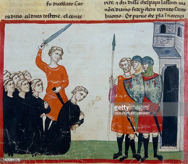 Conradin and his barons are sentenced and executed after the defeat of Tagliacozzo miniature from the Cronica by Giovanni Villani manuscript Italy...
