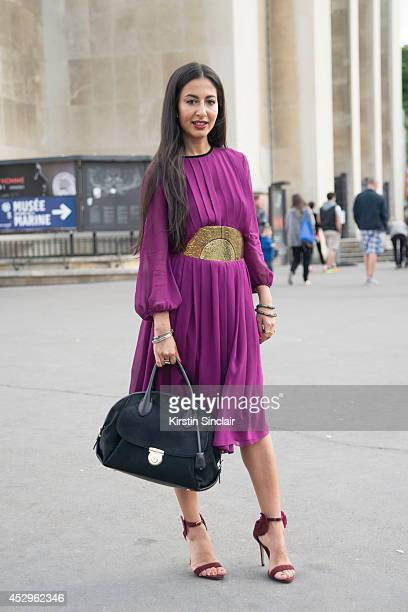 Conributer for the New York Post Nausheen Shah wearing a Max Mara dress Oscar Tiye shoes Salvatore Ferragamo bag and Lanvin belt day 3 of Paris Haute...