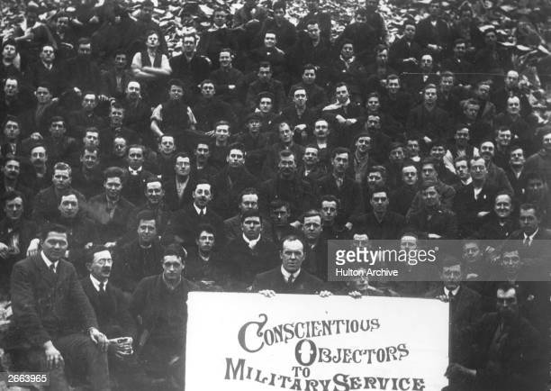 Conscientious objectors face the camera at Dyce Camp during the worst days of fighting on the Western Front