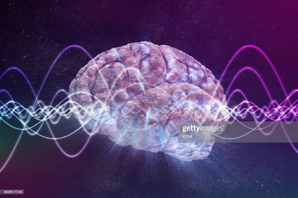 Consciousness concept. Brain and signal waves in background. 3D rendered illustration. : Stock Photo