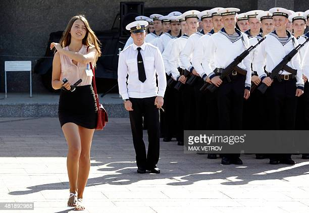 Conscript sailors take the oath of allegiance to the Russian Federation in Sevastopol on July 25 2015 / AFP / MAX VETROV