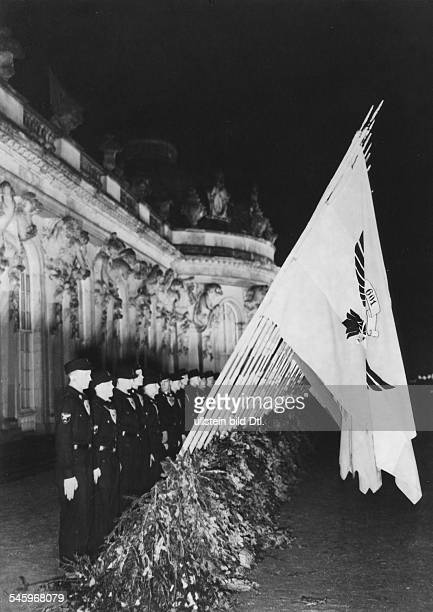 Consecration of 140 flags of Hitler Youth units from Austria and the Sudetenland in front of Sanssouci Palace in Potsdam on the birthday of Frederick...
