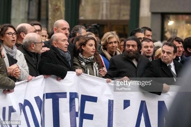 Conseil Representatif des Institutions Juives de France President Francis Kalifat French Interior Minister Gerard Collomb Ile De France Region...
