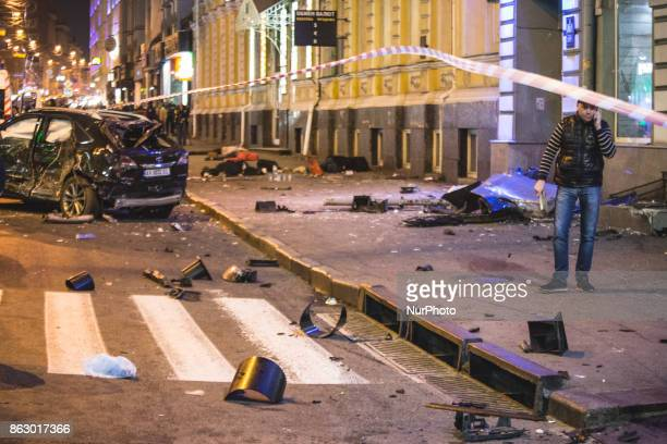 CONTENT*** Consequences of the accident during a violent car accident in Kharkov Ukraine on 18 October 2017 night Five people died on the spot