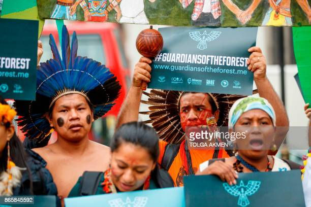 Conservation campaigners Woie Patta Xokieng and Dinamam Tuxa from Brazil join a delegation of indigenous and rural community leaders from 14...