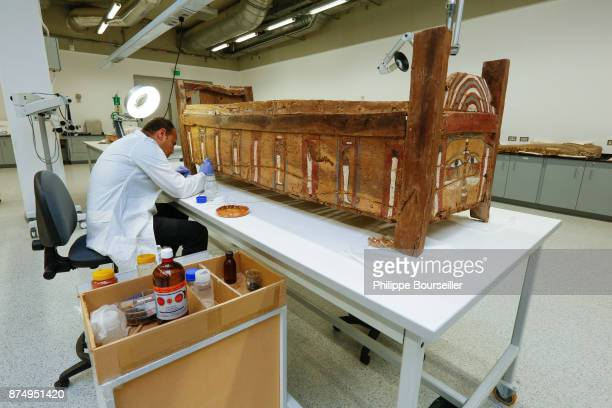 Conservationist Ali Hussein restores a wooden bed from the tomb of Tutankhamen GEM Wood Restoration Laboratory in Cairo