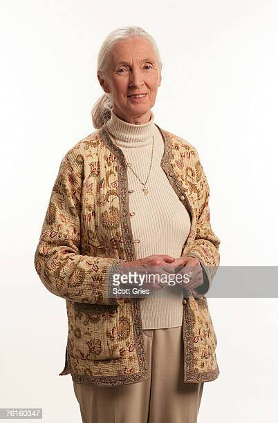 Conservationist Jane Goodall poses for a photo during a portrait session during Live Earth New York at Giants Stadium on July 7 2007 in East...