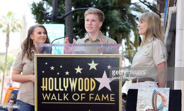Conservationists/TV personalities Bindi Irwin, Robert Irwin and Terri Irwin attend Steve Irwin being honored posthumously with a Star on the...