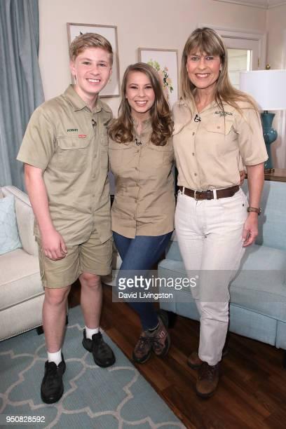Conservationists/TV personalities Robert Irwin Bindi Irwin and Terri Irwin visit Hallmark's 'Home Family' at Universal Studios Hollywood on April 24...